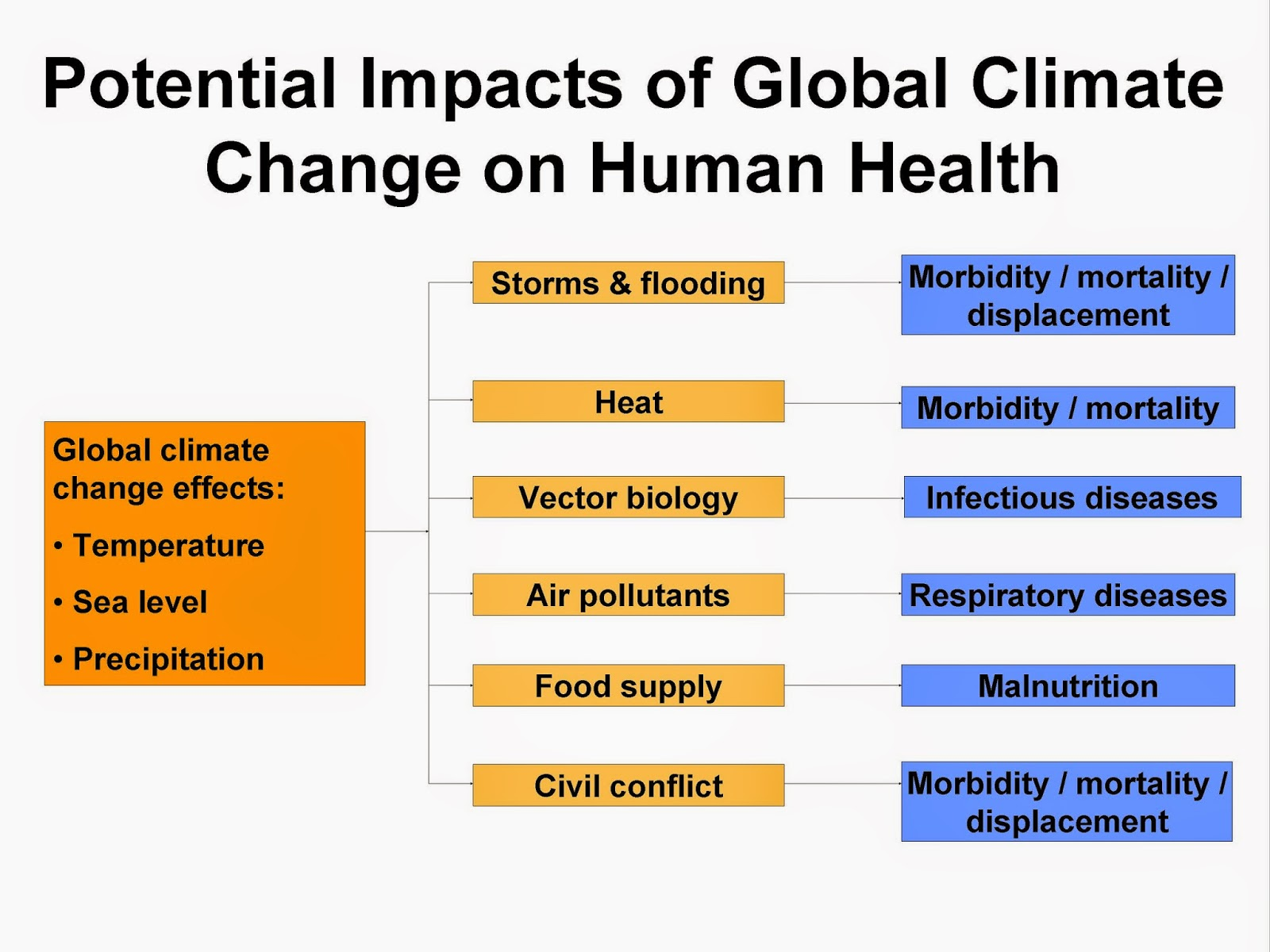 Potential impacts of global climate change on human health. (Credit: http://health.state.tn.us) Click to Enlarge.