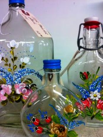 Hand Painted Glass Bottle Projects Art Craft Ideas