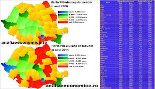 Topul județelor după creșterea PIB-ului pe cap de locuitor și a salariilor