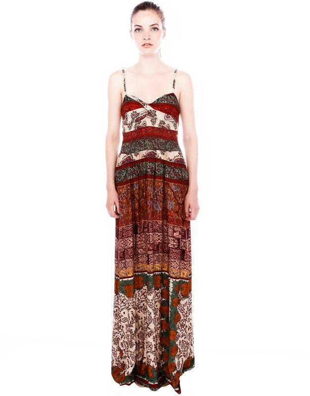 askılı çiçek desenli uzun elbise maksi