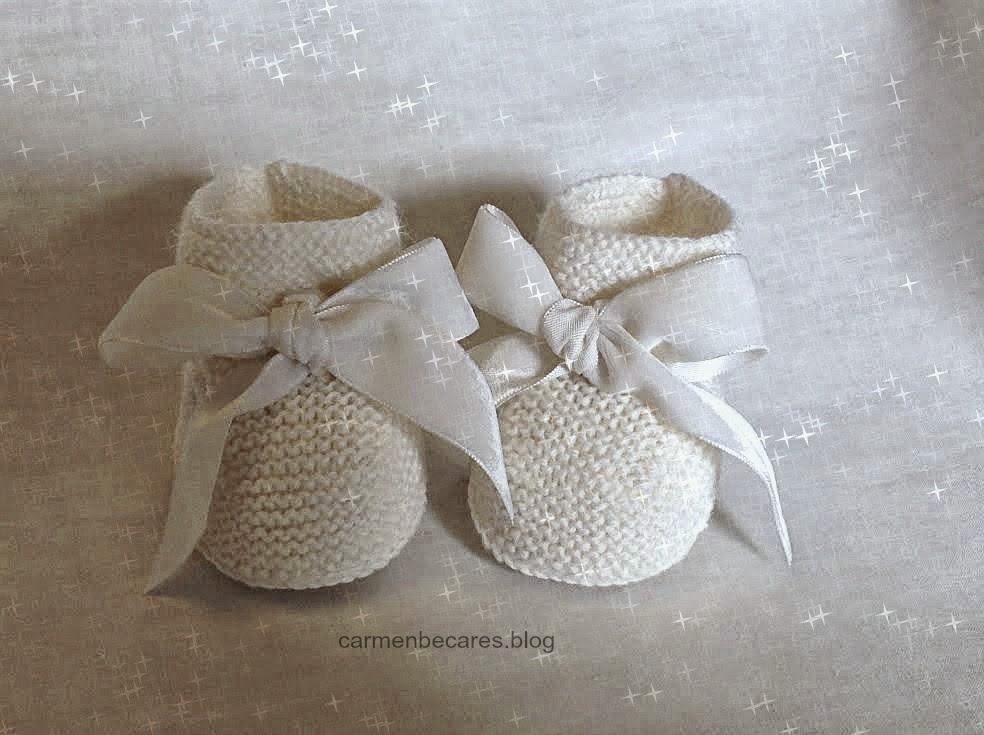 Patucos bebe tejido dos - Puntos de agujas de lana ...