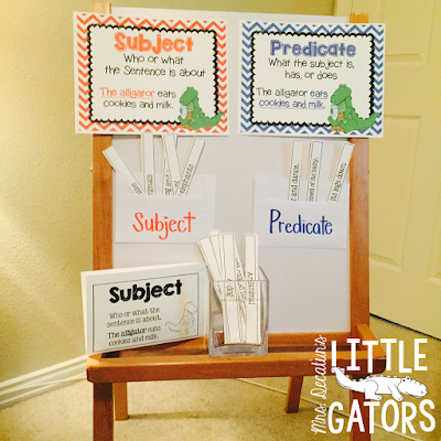 Subject and predicate, Subject & predicate, grammar gator, lesson plan, anchor chart, mini-lesson