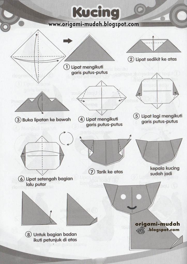 Cara Membuat Origami Bentuk Kucing