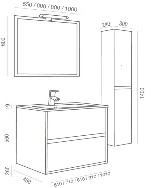 Lavabos Para Baño Medidas:mueble NOJA + lavabo porcelana