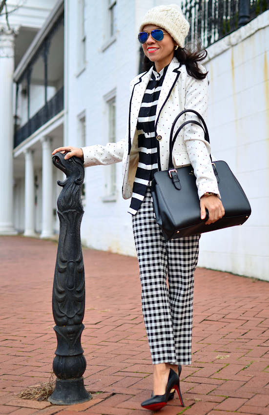 Mixed patterns street style outfit