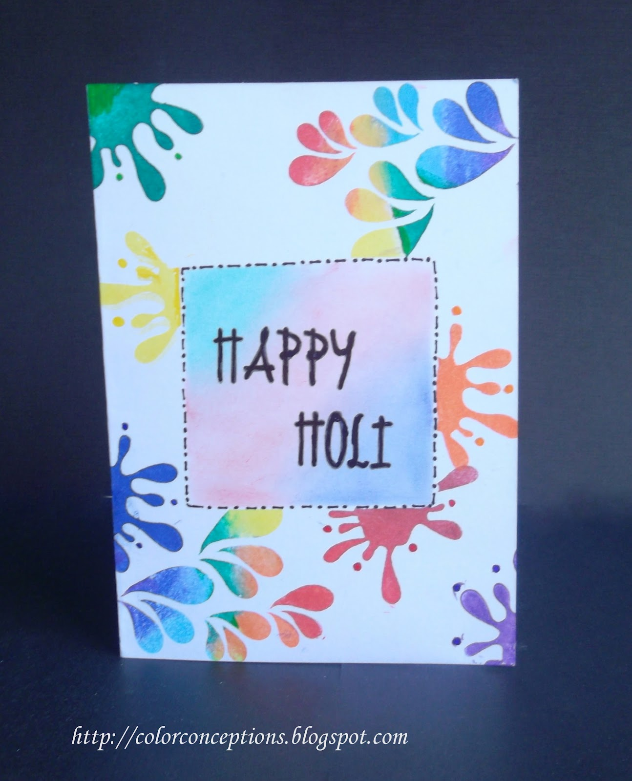 Marvelous Holi Card Making Ideas Part - 11: Masking For Stamping On Sides And Reverse Masking For The Centre