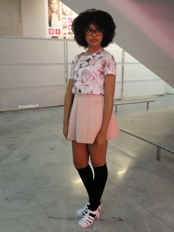 look ootd street style Tamarah mannequin  T-shirt Forever 21, Jupe Pull&Bear, Shoes American Apparel, lunettes de vue Jimmy Choo et sac Michael Kors