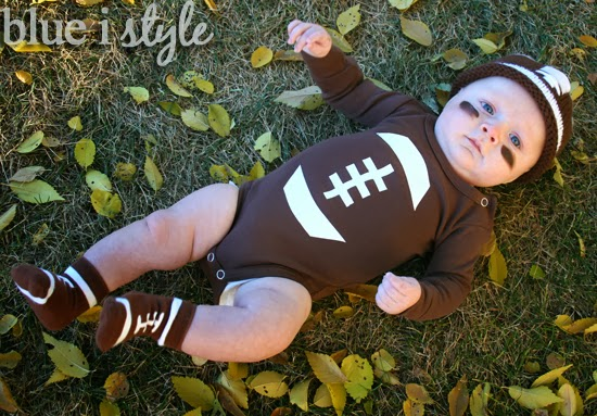since halloween in denver can be quite cold we paired coopers diy football onesie with some cute football socks and an adorable knitted football hat - Infant Football Halloween Costume