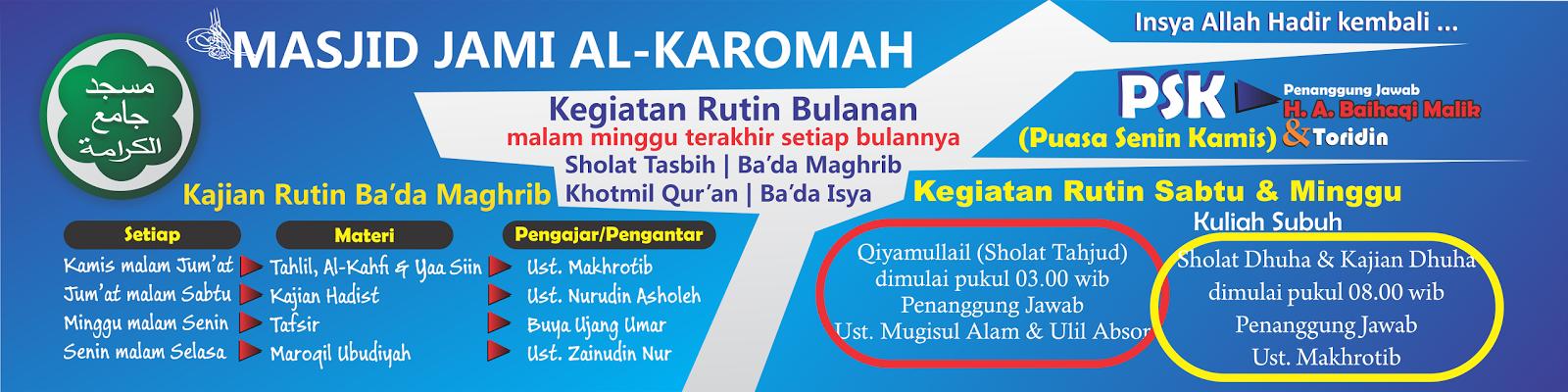 jadwal kegiatan masjid alkaromah