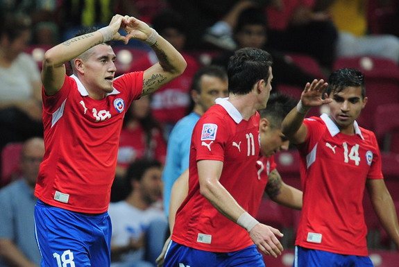 Chile U-20 player Nicolás Castillo celebrates after scoring a goal against Ghana U-20