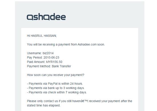 Pembayaran Komisen Affiliate ke 15 Ashadee