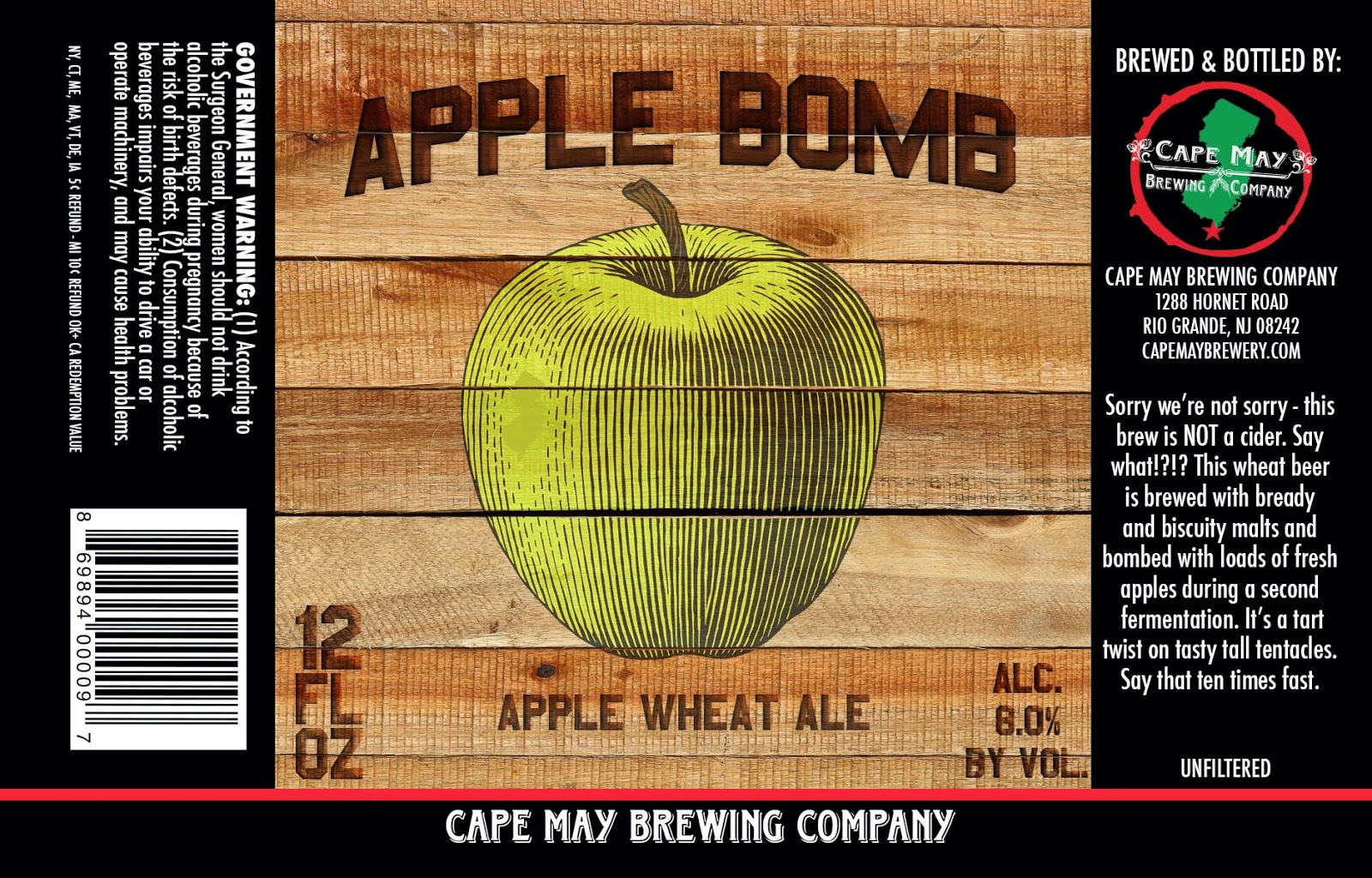 Cape May Brewing, New Jersey, Craft Beer, Apple Bomb