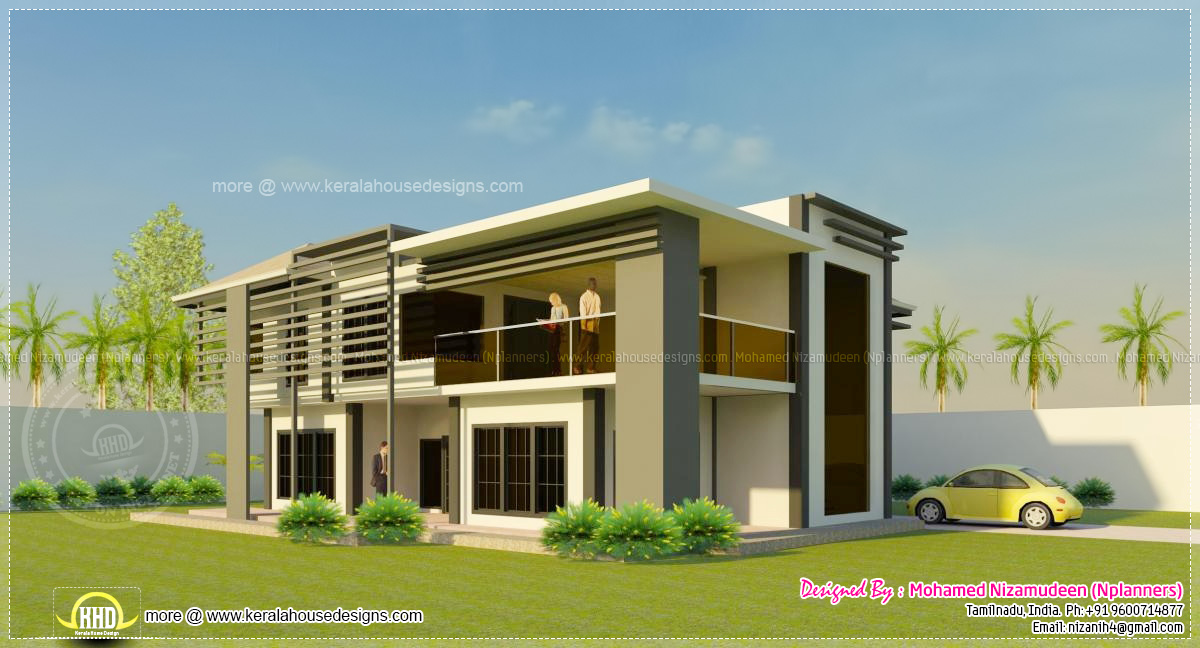 sq-ft modern North Indian style house elevation - Kerala home design ...