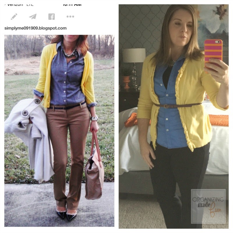 """Fashion Advice"" from an organizing blogger :: OrganizingMadeFun.com -- yellow cardigan, blue shirt, boots"