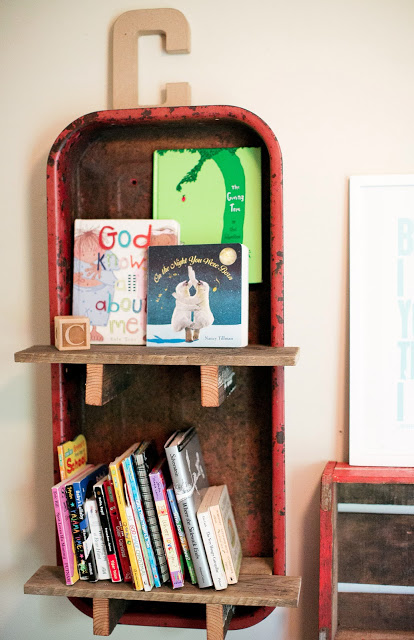 DIY Radio Flyer wagon bookshelf for baby's room