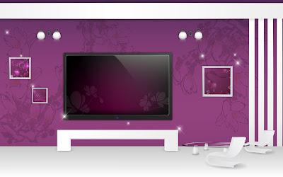 Furniture And Interior Arts Design - Purple-white Home Theater
