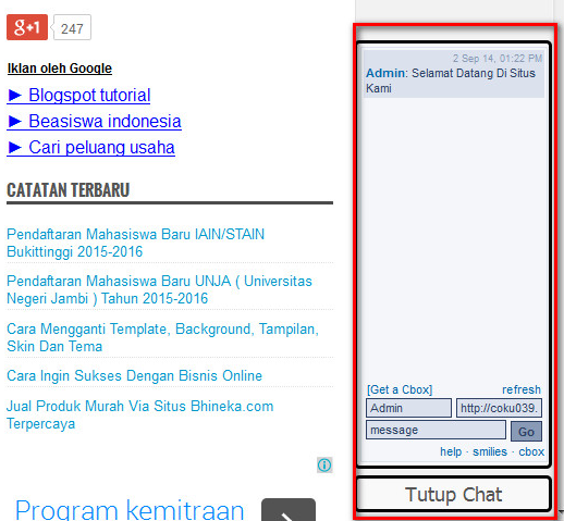 Cara Membuat Dan Memasang Chat Box/Room Di Blog Dan Website