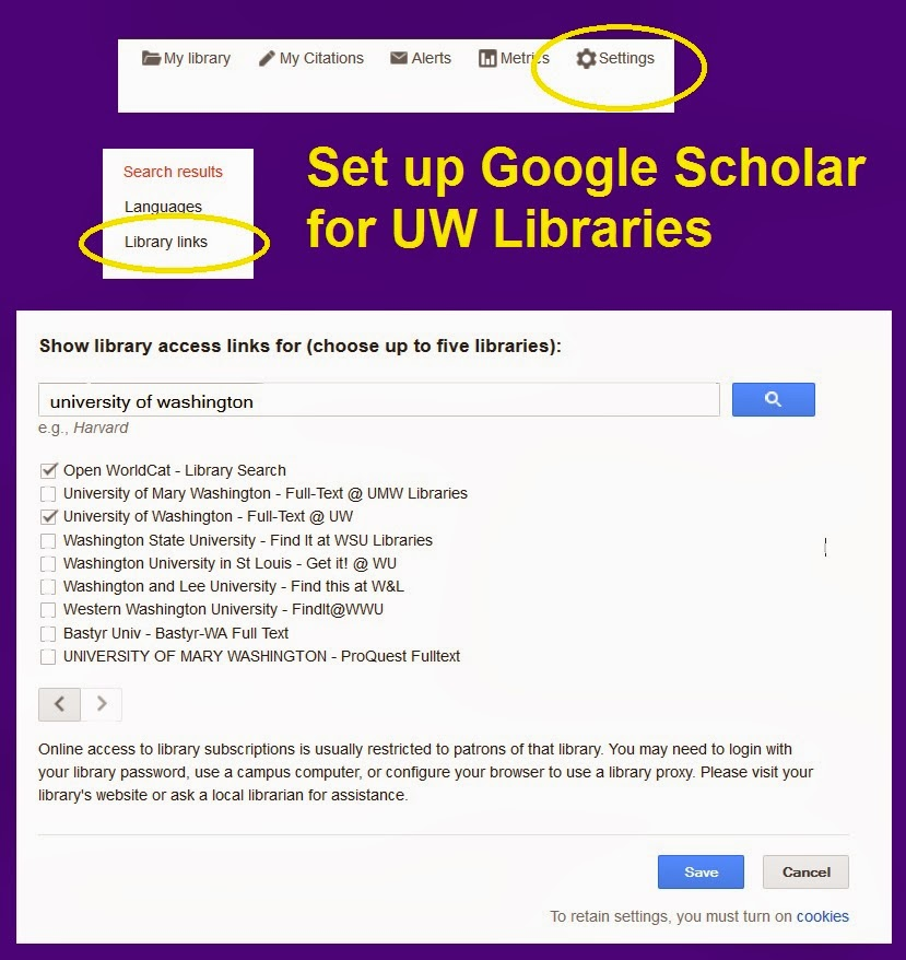 screen snips showing the Settings link, the Library links link, and the screen for searching for libraries