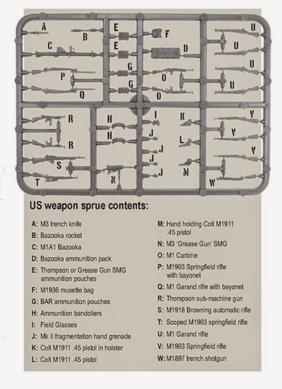 Warlord Games Plastic US Marine Corp Wepons Sprue