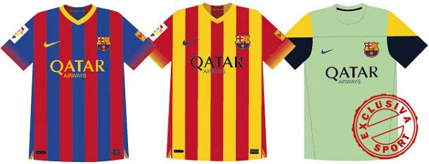Sport ofrece hoy en exclusiva como serán las nuevas camisetas del Barça  2013 14. El diario barcelonés adelanta los modelos definitivos de la  primera y ... fbde6c81a6e