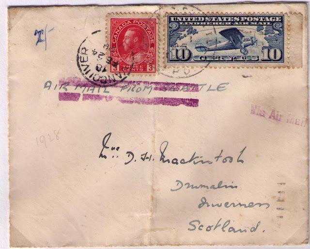 vancouver to inverness scotland february 24 1928 3 cents canadian letter rate to great britain 10 cents us air mail fee