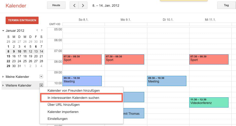 """Screenshot einer Ansicht des Google Kalender, Menupünkt """"Weitere Kalender"""""""