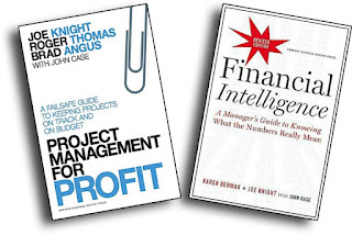 "image of two books by Joe Knight. ""Project Management for Profit"" and ""Financial Intelligence"""