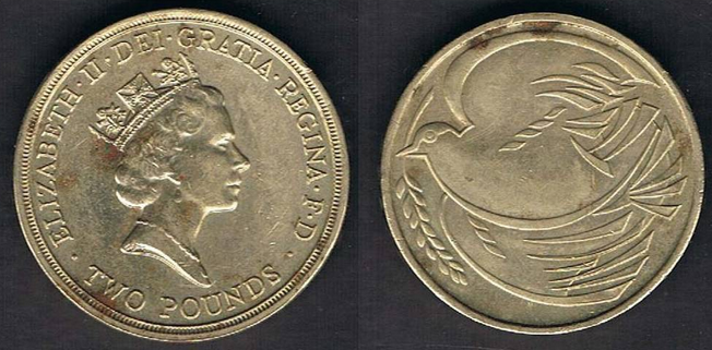 "The 1995 British two pound ""Dove"" coin"