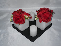 Art. 140. base con fanal 8x8, rosas rojas y velas