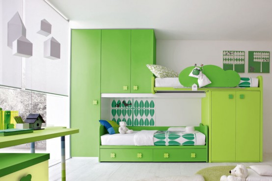 Green Interior Design Bedrooms For Kids. Interior Design Bedrooms With  Modern Interiors And Unique, Two Level Tidurr Room, Bedrooms One With  Wardrobe, ...