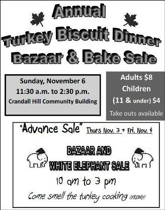 11-6 Turkey Biscuit Dinner, Bazaar & Bake Sale