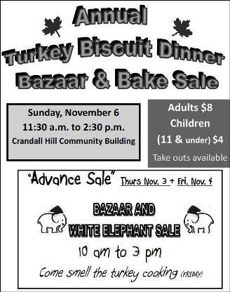 11-6 Turkey Biscuit Dinner, Bazaar & Bake Sale