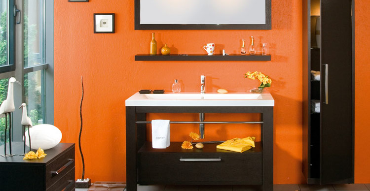 decora o nas cores laranja e preto. Black Bedroom Furniture Sets. Home Design Ideas