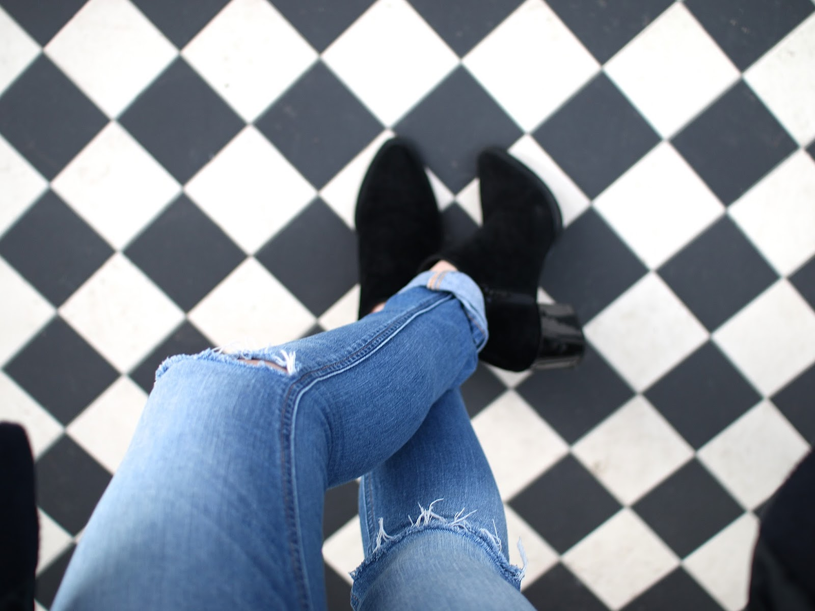 hm chunky heel for fall, ripped jeans