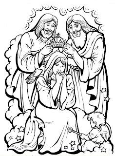 Coronación de la Virgen María para colorear