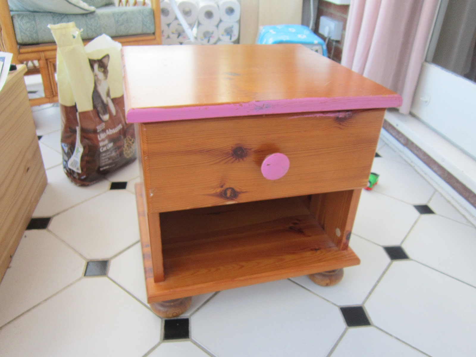 Lifestyle Blog: DIY Small Table Chest Revamp Cath Kidston Style. Full resolution  image, nominally Width 1600 Height 1200 pixels, image with #784028.