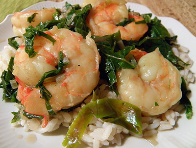 Closeup of Shrimp Braised with Kale