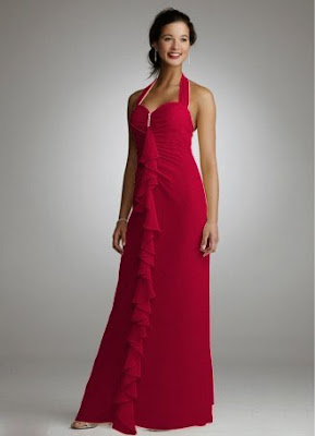 Long+Soft+Chiffon+Halter+Dress+with+Front+Cascade+Bridesmaid+Dress