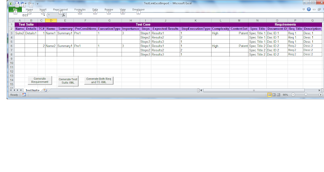 Testlink test link import excel of test requirement and for Test suite template