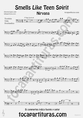 Tubescore Smells Like Teen Spirit by Nirvana Sheet Music for Trombone Tube and Euphonium