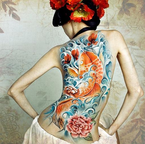 koi fish tattoo, ink, skin