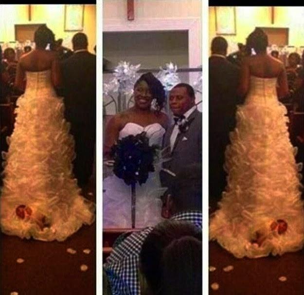 Bride Attaches Newborn Baby To Wedding Dress