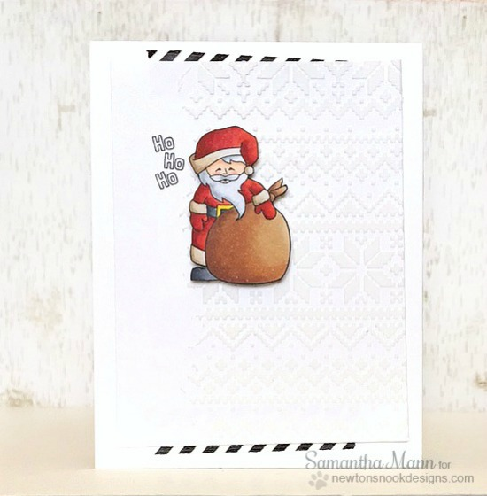 Santa Card by Samantha Mann | Jolly Tags Stamp and Die Set by Newton's Nook Designs #newtonsnook