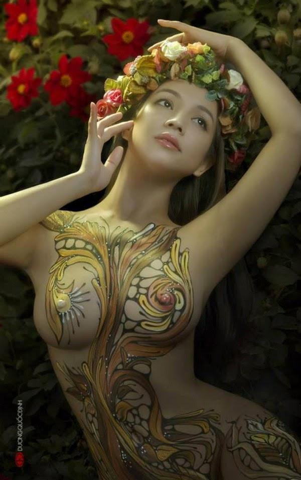 Ảnh gái xinh Body painting của Dương quốc định 13