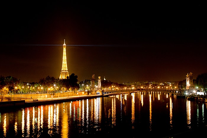 The city of Paris at night