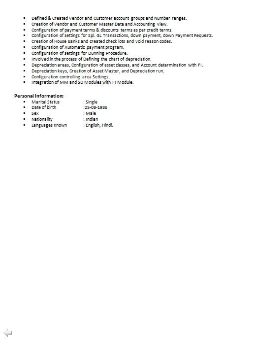 sap fi consultant resume india