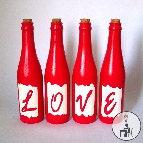garrafa love, vermelha, reciclagem de garrafa, artesanato, love, vidro, crafts, handmade, eu que fiz, atelier wesley felicio