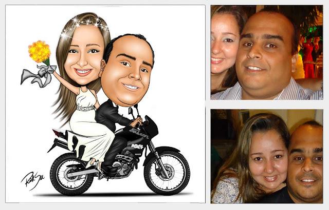 caricatura de noivinhos com sua moto falcon nx4
