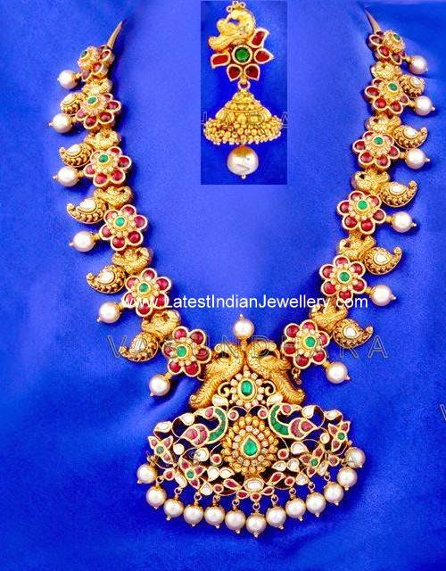 Nakshi Work Kundan Mango Necklace