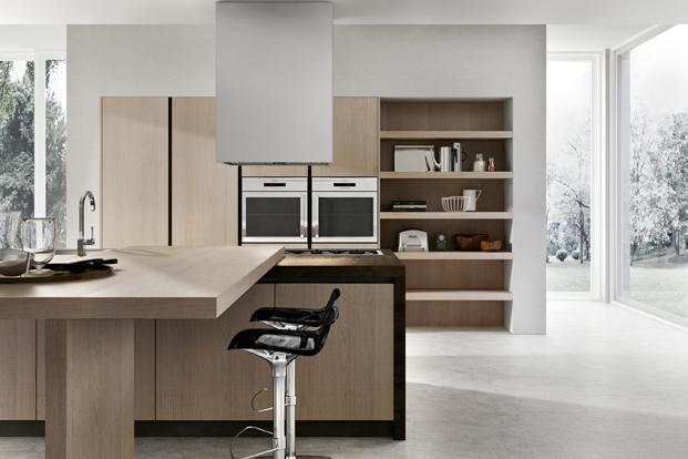 Maison Contemporaine Cube D Architectes : Cuisine moderne avec idée déco et façades sans poignées